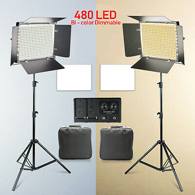 2Pack 480 LED Bi-Color Dimmable Professional Light for Photography Lighting Kit