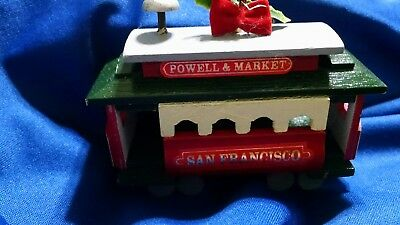 Cable Car San Francisco Christmas Ornament Powell & Market Wooden Trolley #375