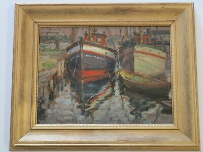 Julius Berzevizy New York Antique Early American Harbor Bay Marina Oil Painting