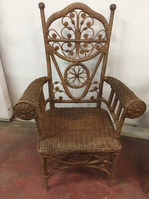 F34028 Vintage Style Peacock Cane Wicker Chair 2 Available Armchair