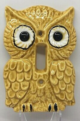 Vintage Enesco Ceramic Owl Light Switch Plate Cover 1970s Mid Century Modern