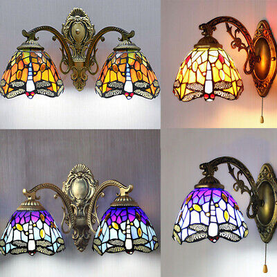 Vintage Tiffany Style Stained Glass Wall Light Bathroom Mirror Wall Lamp Sconce