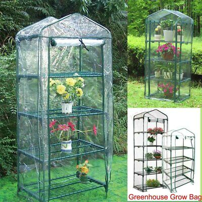 Small Greenhouse Bag Garden Plant Cover Clear PVC Plastic Growbag Box 4 / 5 Tier