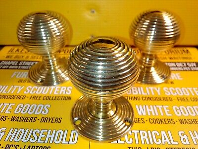 3 Beehive Empire Door Knobs - Brass highly polished .Ilkeston