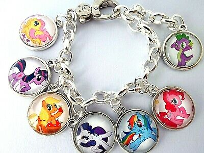 My Little Pony All 6 Pony @ Spike Charms Silver Bracelet,Age 6-8  Year,Gift Box