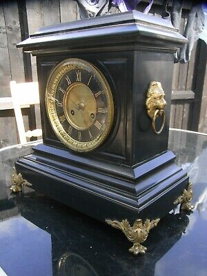 19th Century Mantle Clock / Black Slate / Marble / Roblin / Best Youll Find