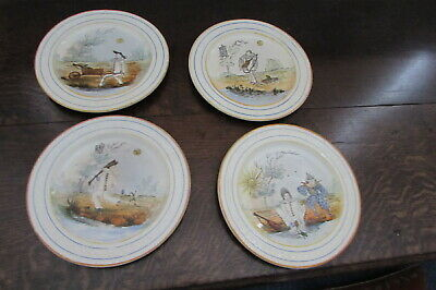 Set Of 4 antique painted plates depicting frog/clown comedy scenes