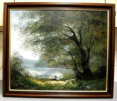 "framed oil painting (27 1/4"" x 23 3/8""), Boy Fishing at Lake, signed Chapman"