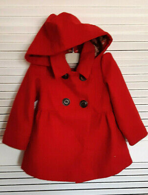 NEXT  Girls Red Hooded Winter Coat  2-3 yr -