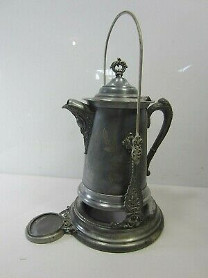 Anitque B.G. Uher Silverplated Water Pitcher on Tilting Stand