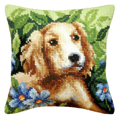 Orchidea Cross Stitch Kit - Cushion - Large -  Dog - Needlecraft Kits