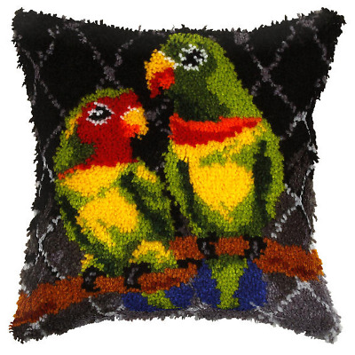 Orchidea Latch Hook Cushion Kit - Large - Parrots - Needlecraft Kits