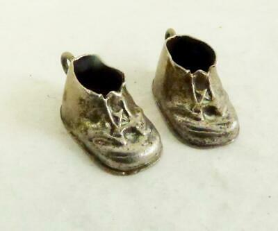 Vintage Sterling Silver (2) Antique Baby Shoes Charms Engraved