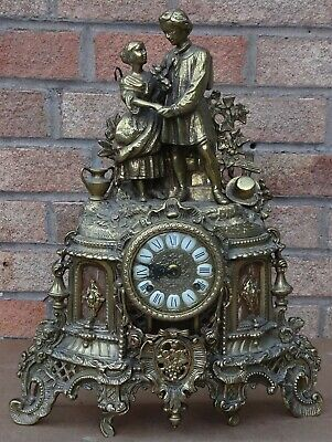 Stunning Fancy Heavy Large Quality Brass Franz Hermle Mantle Clock To Restore