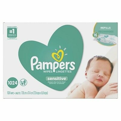 Genuine-PAMPERS Sensitive Baby Wipes 1024ct. Brand New***