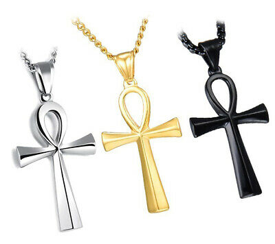 Egyptian Ankh Cross Stainless Steel Silver Gold Black Color Key of Life Necklace