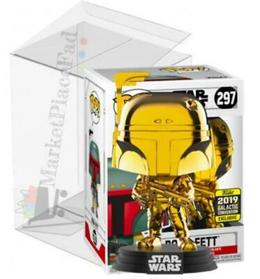 Funko POP! Star Wars 2019 Galactic Convention #297 Gold Boba Fett W/Protector