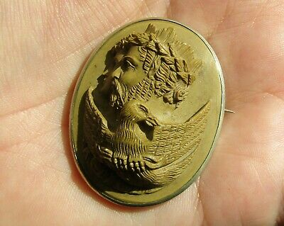 Large, Superb, Antique Victorian Carved Lava Cameo Brooch / Zeus, Hera, Eagle