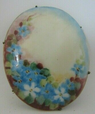 Vintage Victorian Hand Painted Porcelain Blue Flowers Pin Brooch C-Clasp, Large