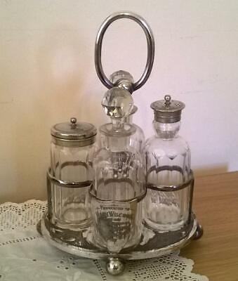 Antique Silver Plated & Glass Cruet Stand Set - Ebenezer Stacey & Sons Victorian