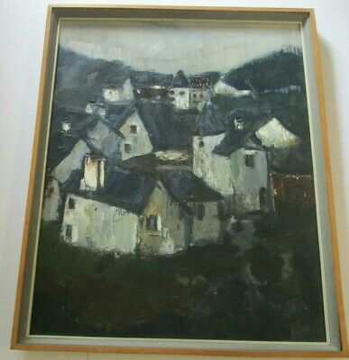 Large French Mid Century Expressionist Painting  Modernism Rare 1960'S Urban