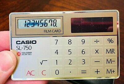 Vintage CASIO SL-750 Film Card Calculator Japan - Tested & Works