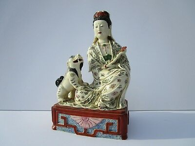 Large Kwan Yin   Statue Fine Old Chinese Scholar Icon Sculpture Ceramic Signed