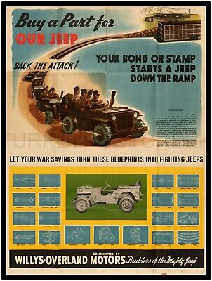 """WILLYS MILITARY JEEP AD 9"""" x 12"""" ALUMINUM Sign"""
