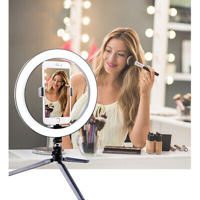 10'' 'LED Phone Selfie Ring Light with Stand Dimmable For Makeup Youtube K2W5L