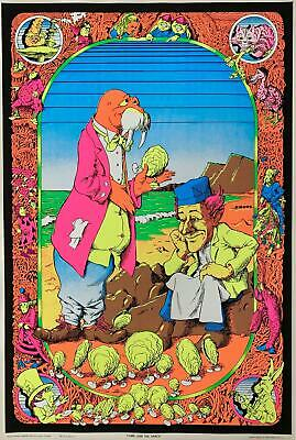Alice In Wonderland Come To The Dance Original 1970s Black Light Poster 23 x 35