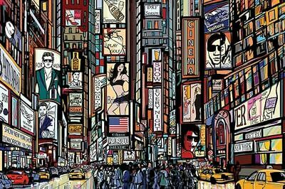 Times Square Illustrated Poster 24 X 36