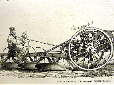 Fowler's Four Furrow Steam Plough FARMING PATENT PLOW 1862 Antique Art Matted