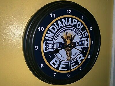 Indianapolis Brewing Co. Beer Bar Man Cave Advertising Black Wall Clock Sign