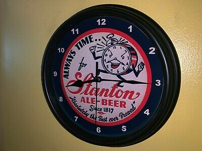 Stanton Ale Beer Bar Man Cave Advertising Black Wall Clock Sign