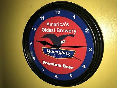 Yuengling Beer Bar Man Cave Advertising Black Wall Clock Sign