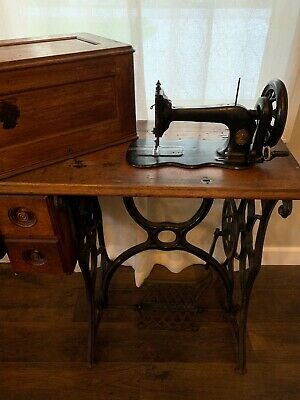 Singer Model 12 New Family Treadle Sewing Machine Fiddle Base With Cover 1877