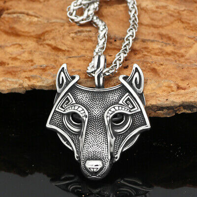 Vintage Silver Norse Viking Stainless Steel Wolf Head Pendant Necklace Amulet