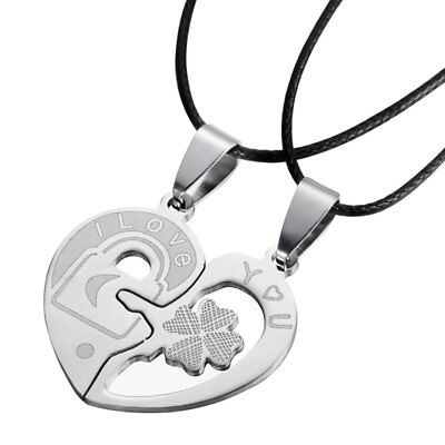 Four Leaf Stainless Steel I LOVE YOU Lock and Key Heart Couple Pendant Necklace