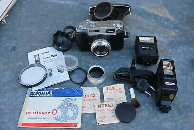 VINTAGE YASHICA MINISTER-D 35mm RANGEFINDER CAMERA + Accessories