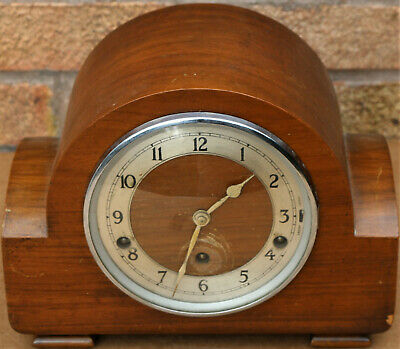Working Old Art Deco Wooden Chiming Garrard Mantel Clock To Polish Up