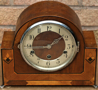 Beautiful Old Art Deco Inlaid Wooden Chiming Mantel Clock