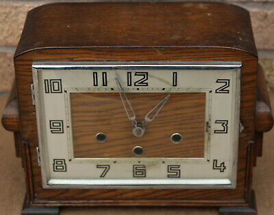 Lovely Shaped Old Art Deco Wooden Cased Chiming Mantle Clock
