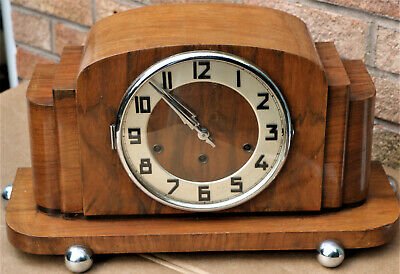 Very Large Old Unusual & Stylish Wooden Cased Art Deco Chiiming Mantle Clock