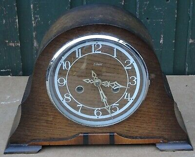 Old Wooden Cased Art Deco Type Striking Enfield Mantle Clock