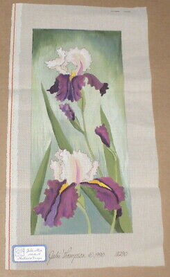"Julie Mar Purple & Yellow ""Orchids"" Flowers Handpainted Needlepoint Canvas"