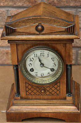 Lovely Working Wooden Cased Junghans Striking Mantel Clock To Restore