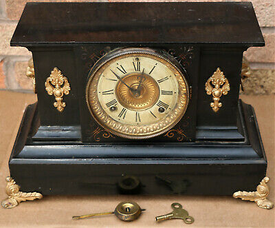 Splendid Old Metal Cased Ansonia Striking Mantel Clock With Fancy Gilt Fittings