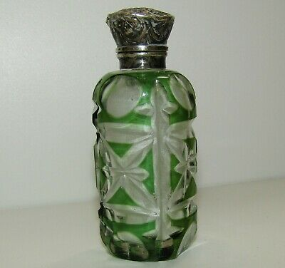 Fine, Antique Victorian Sterling Silver Cut Glass Perfume/Scent Bottle