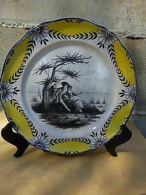 Superb Antique French hand painted plate, ca. 1850, marked S.X. [Y7-W6-A9]