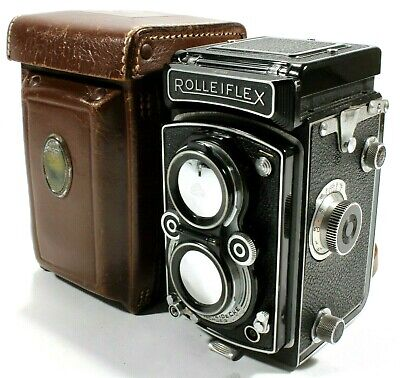 Rollei Rolleiflex T TLR Camera 75mm F3.5 Tessar Opton Lens with Case and Cap